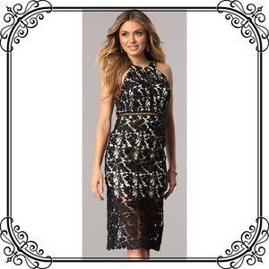 🆕NWT Chic Knee Length Size 3 Black Lace Dress